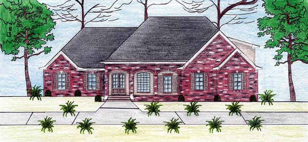 European House Plan 74608 with 3 Beds, 4 Baths, 3 Car Garage Front Elevation