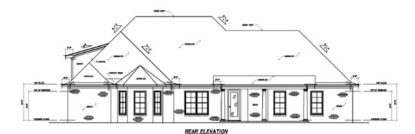 European House Plan 74608 with 3 Beds, 4 Baths, 3 Car Garage Rear Elevation