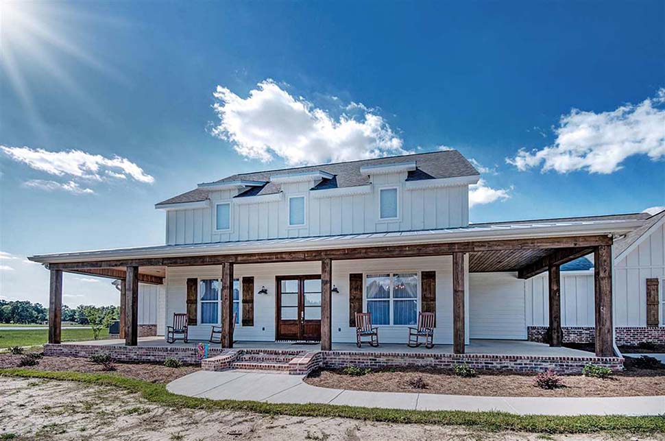 Country, Farmhouse, French Country House Plan 74635 with 5 Beds, 4 Baths, 3 Car Garage Picture 2