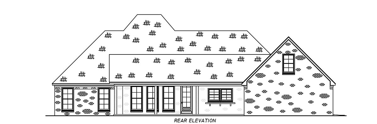 French Country, Traditional House Plan 74662 with 3 Beds, 3 Baths, 3 Car Garage Rear Elevation