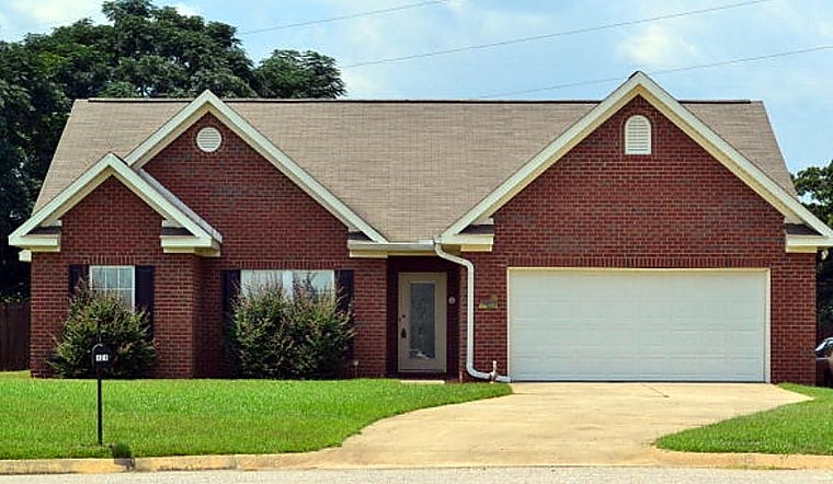 Traditional House Plan 74762 with 4 Beds, 2 Baths, 2 Car Garage Front Elevation