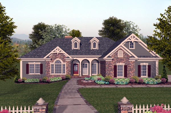 Craftsman House Plan 74804 with 4 Beds, 3 Baths, 3 Car Garage Elevation