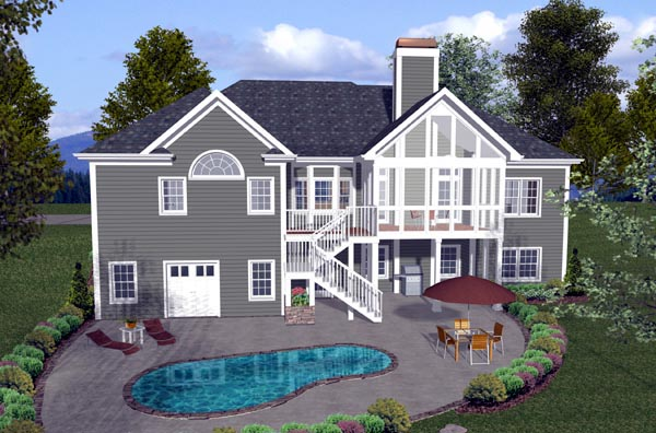 Craftsman House Plan 74804 with 4 Beds, 3 Baths, 3 Car Garage Rear Elevation