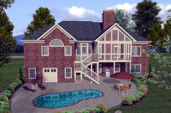 Traditional House Plan 74806 with 4 Beds, 3 Baths, 3 Car Garage Rear Elevation