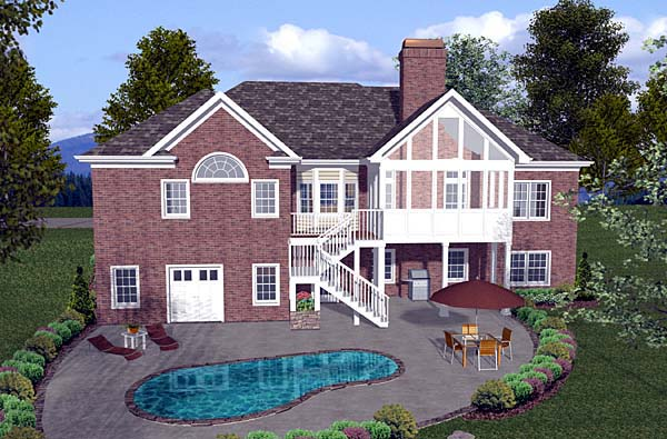 Craftsman, Ranch House Plan 74810 with 4 Beds, 4 Baths, 3 Car Garage Rear Elevation