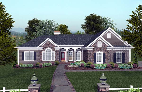 Craftsman, Ranch House Plan 74811 with 3 Beds, 4 Baths, 3 Car Garage Elevation