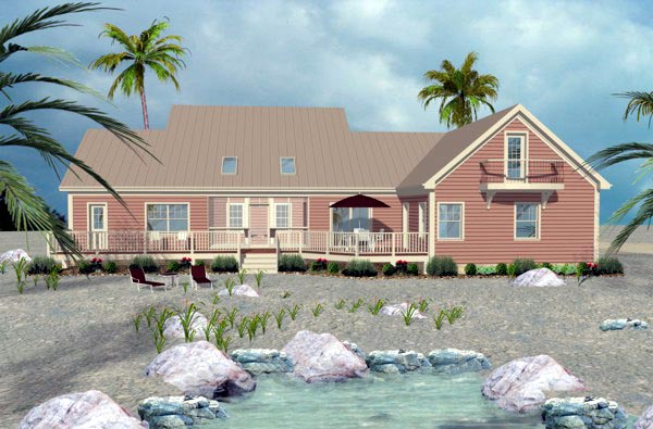 Traditional House Plan 74819 with 3 Beds, 4 Baths, 3 Car Garage Rear Elevation