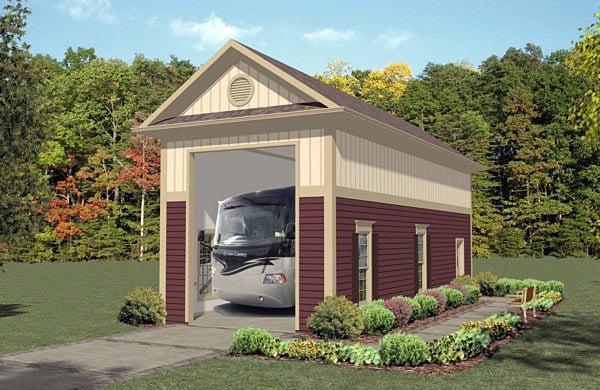 1 Car Garage Plan 74835, RV Storage Front Elevation
