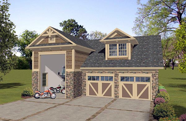 Craftsman, Tudor 3 Car Garage Apartment Plan 74836 with 1 Beds, 1 Baths, RV Storage Elevation