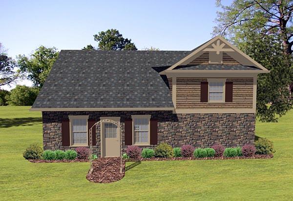 Craftsman, Tudor 3 Car Garage Apartment Plan 74836 with 1 Beds, 1 Baths, RV Storage Rear Elevation