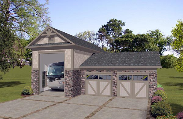 3 Car Garage Plan 74840, RV Storage Elevation