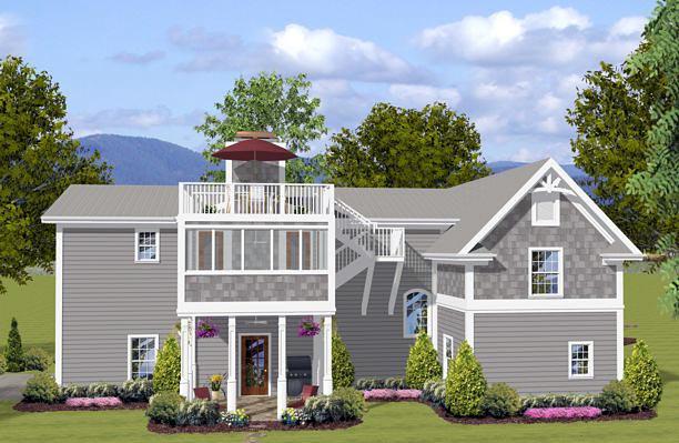 Craftsman 3 Car Garage Apartment Plan 74841 with 1 Beds, 2 Baths, RV Storage Rear Elevation