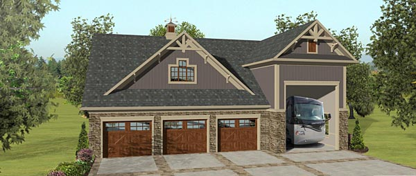 3 Car Garage Apartment Plan 74843 with 2 Beds, 1 Baths, RV Storage Front Elevation