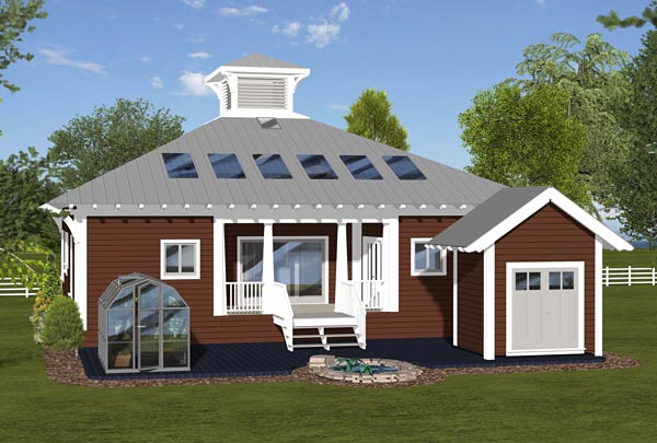 Cottage, Country, Craftsman House Plan 74844 with 3 Beds, 2 Baths Rear Elevation