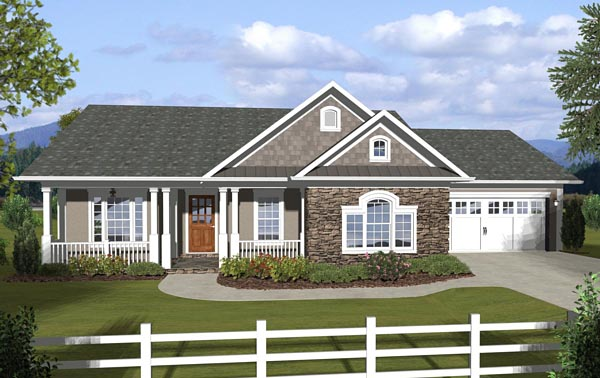 Country, Ranch, Traditional House Plan 74845 with 3 Beds, 2 Baths, 2 Car Garage Elevation