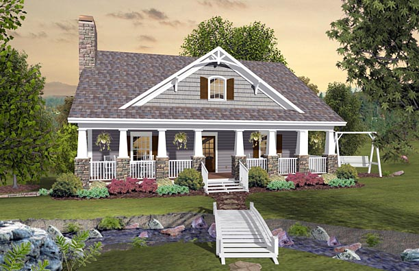 Cottage, Country, Craftsman House Plan 74849 with 3 Beds, 3 Baths, 2 Car Garage Front Elevation