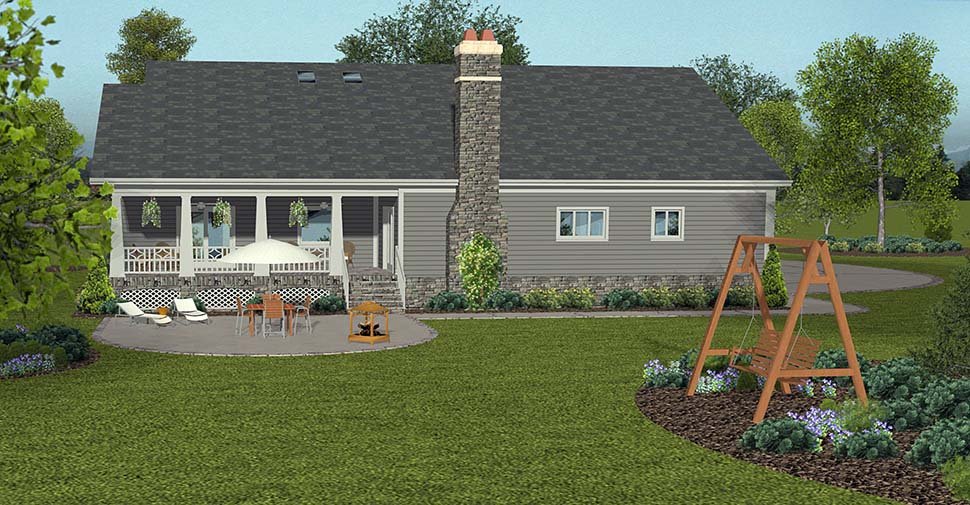 European, Ranch, Traditional House Plan 74860 with 4 Beds, 3 Baths, 3 Car Garage Rear Elevation