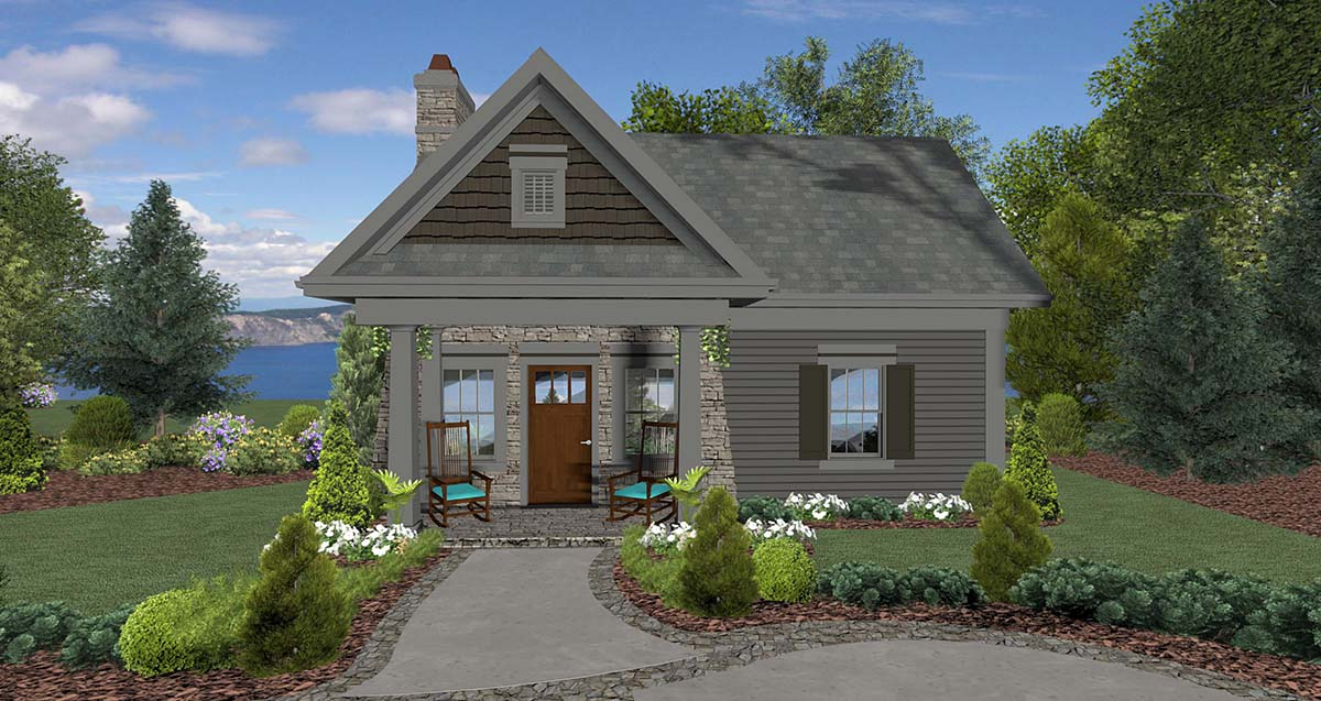 Cottage, Craftsman, Tuscan House Plan 74863 with 1 Beds, 1 Baths Front Elevation