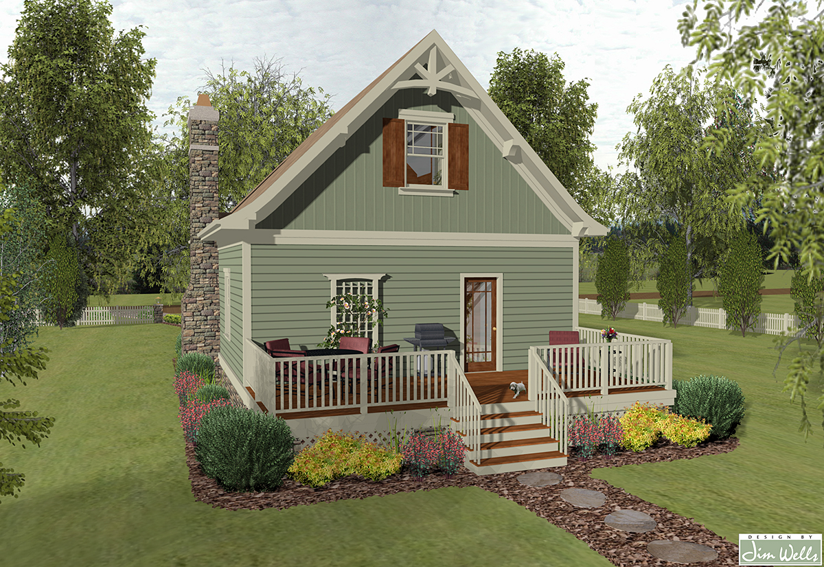 Cottage, Craftsman, Narrow Lot House Plan 74868 with 1 Beds, 2 Baths Rear Elevation