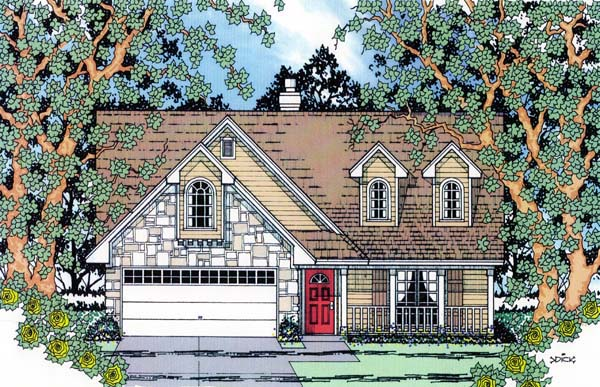 Country House Plan 75005 with 3 Beds, 3 Baths, 2 Car Garage Elevation