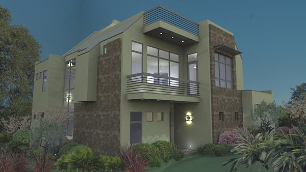Contemporary, Florida, Modern House Plan 75107 with 3 Beds, 4 Baths, 2 Car Garage Rear Elevation