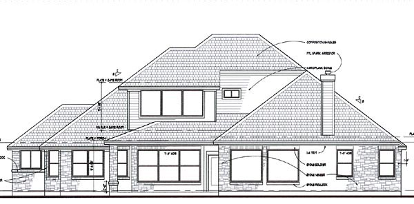 Coastal, Contemporary, Modern House Plan 75109 with 3 Beds, 3 Baths, 3 Car Garage Rear Elevation