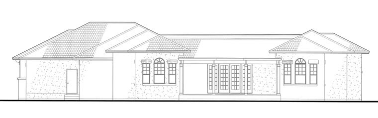 Italian, Mediterranean, Traditional House Plan 75123 with 3 Beds, 3 Baths, 3 Car Garage Rear Elevation