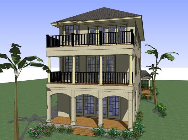 Coastal, Florida, Traditional House Plan 75126 with 6 Beds, 8 Baths, 2 Car Garage Rear Elevation