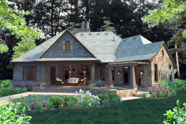 Cottage, Craftsman, Tuscan House Plan 75134 with 4 Beds, 4 Baths, 2 Car Garage Rear Elevation