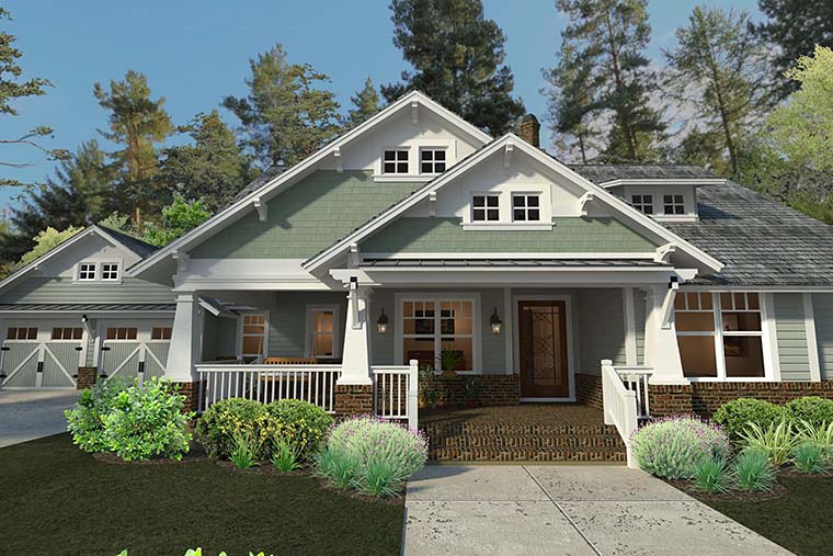 Bungalow, Cottage, Craftsman House Plan 75137 with 3 Beds, 2 Baths, 2 Car Garage Picture 1