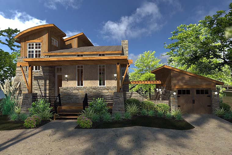 Contemporary, Cottage, Craftsman, Modern, Tuscan House Plan 75140 with 2 Beds, 2 Baths, 1 Car Garage Front Elevation