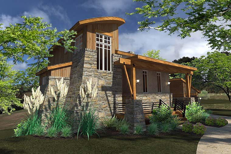 Contemporary, Cottage, Craftsman, Modern, Tuscan House Plan 75140 with 2 Beds, 2 Baths, 1 Car Garage Picture 1