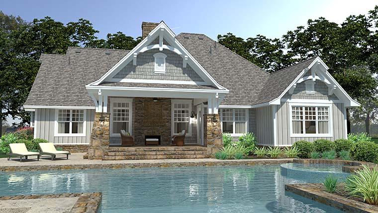 Cottage, Craftsman, European, Farmhouse House Plan 75149 with 3 Beds, 3 Baths, 3 Car Garage Rear Elevation