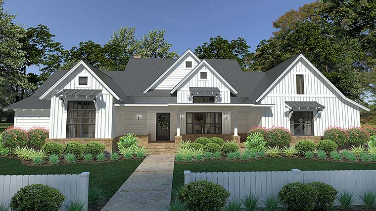 Cottage, Country, Farmhouse, Southern House Plan 75150 with 3 Beds, 3 Baths, 2 Car Garage Front Elevation