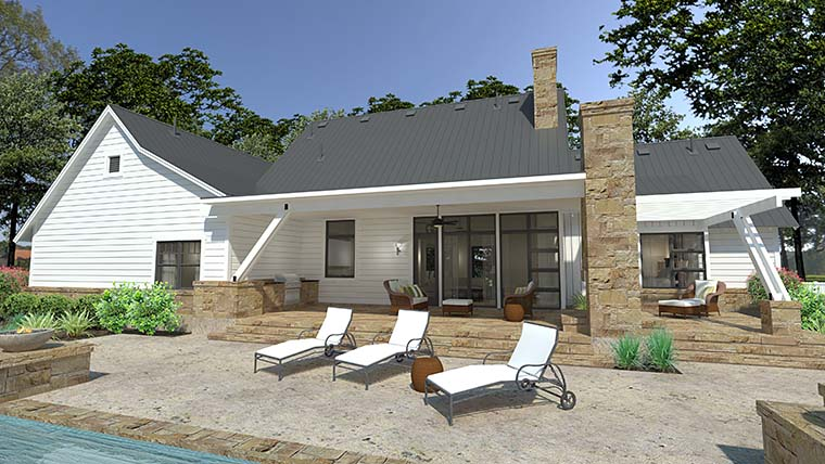 Cottage, Country, Farmhouse, Southern House Plan 75150 with 3 Beds, 3 Baths, 2 Car Garage Rear Elevation