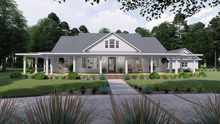 Country, Farmhouse, Southern House Plan 75151 with 3 Beds, 2 Baths, 3 Car Garage Elevation