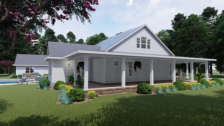Country, Farmhouse, Southern House Plan 75151 with 3 Beds, 2 Baths, 3 Car Garage Picture 3