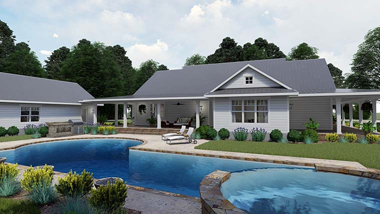 Country, Farmhouse, Southern House Plan 75151 with 3 Beds, 2 Baths, 3 Car Garage Rear Elevation