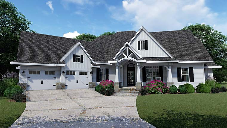 Cottage, Country, Farmhouse, Southern, Traditional House Plan 75152 with 3 Beds, 4 Baths, 2 Car Garage Front Elevation