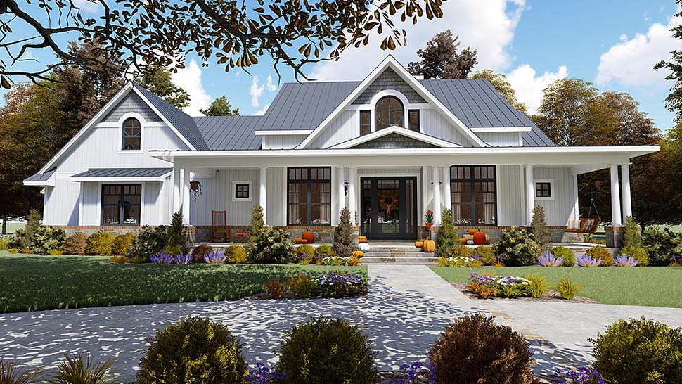 Country, Farmhouse, Southern House Plan 75154 with 3 Beds, 3 Baths, 2 Car Garage Front Elevation
