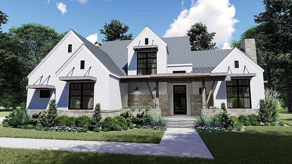 Cottage, Country, Farmhouse, Southern House Plan 75155 with 4 Beds, 4 Baths, 2 Car Garage Elevation
