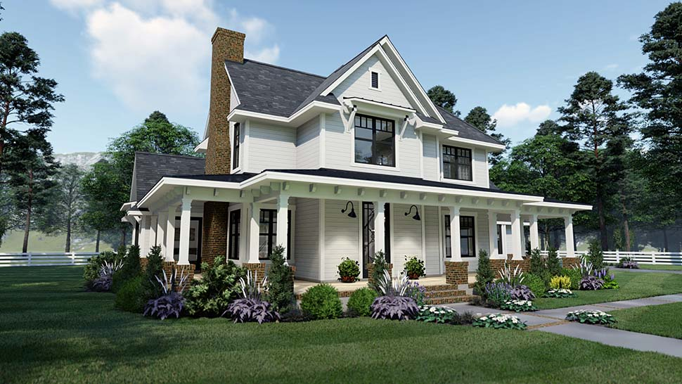 Country, Farmhouse, Southern House Plan 75158 with 3 Beds, 3 Baths, 2 Car Garage Picture 1