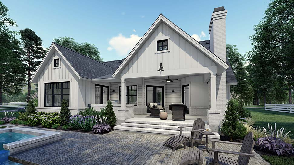 Country, Craftsman, Farmhouse, Southern Plan with 1486 Sq. Ft., 3 Bedrooms, 2 Bathrooms, 2 Car Garage Picture 5