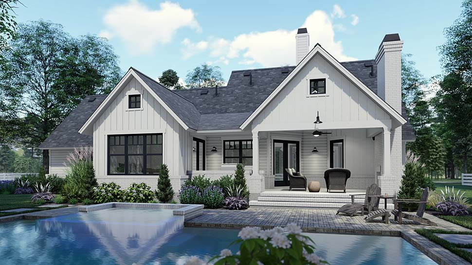 Country, Craftsman, Farmhouse, Southern Plan with 1486 Sq. Ft., 3 Bedrooms, 2 Bathrooms, 2 Car Garage Picture 7