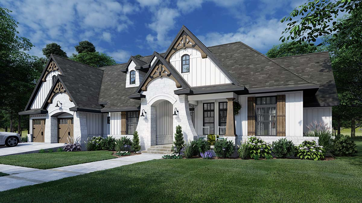 European, Farmhouse, Traditional House Plan 75161 with 4 Beds, 3 Baths, 2 Car Garage Elevation