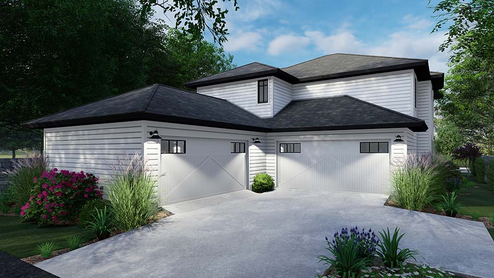 Cottage, Farmhouse Multi-Family Plan 75162 with 6 Beds, 6 Baths, 4 Car Garage Rear Elevation