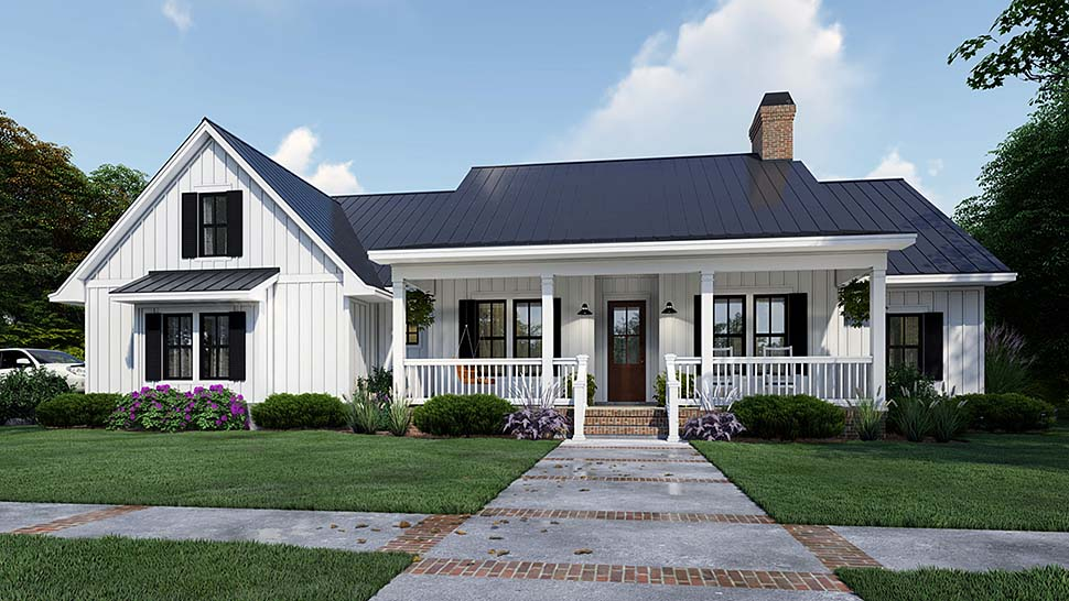 Cottage, Country, Farmhouse House Plan 75163 with 4 Beds, 3 Baths, 2 Car Garage Elevation