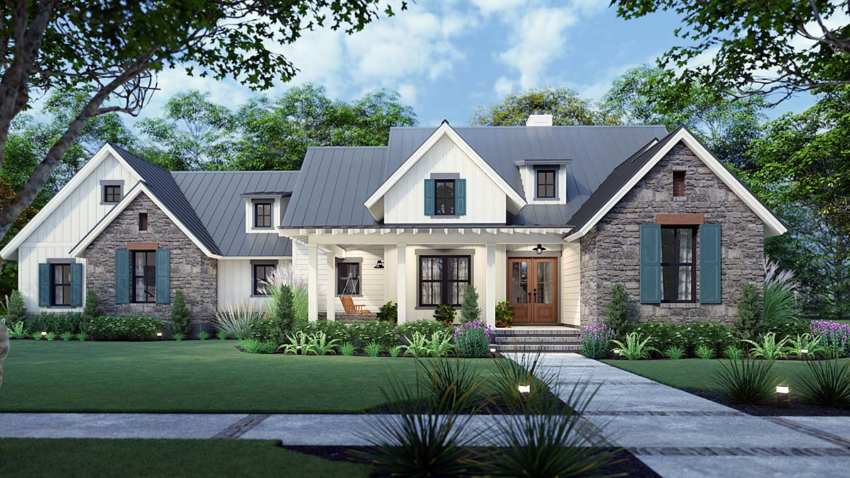 Cottage, Farmhouse, Ranch, Southern House Plan 75167 with 3 Beds, 3 Baths, 2 Car Garage Front Elevation