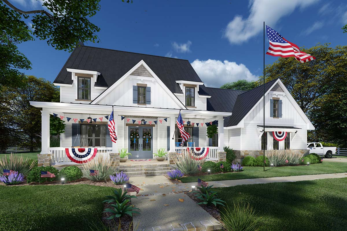 Colonial, Cottage, Farmhouse House Plan 75169 with 3 Beds, 3 Baths, 2 Car Garage Picture 1