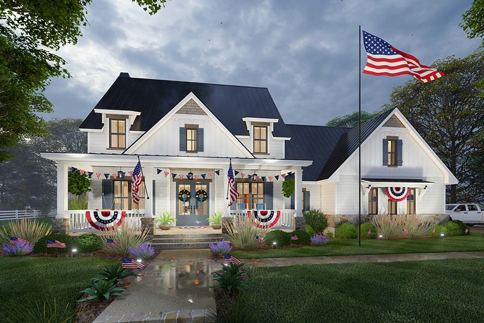 Colonial, Cottage, Farmhouse House Plan 75169 with 3 Beds, 3 Baths, 2 Car Garage Picture 3